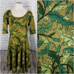 🆕️Lularoe Nicole Yellow Ochre with Leaf Pattern